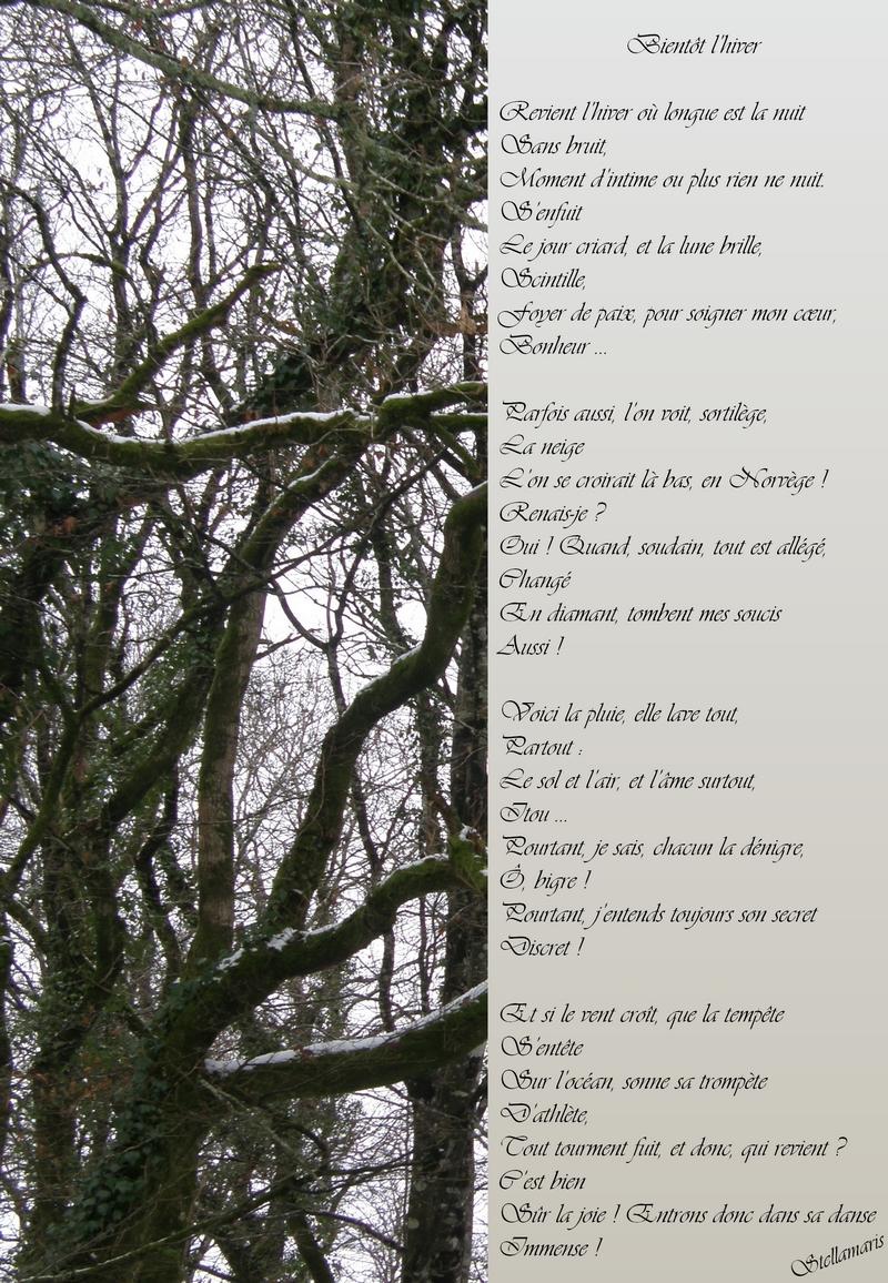 Revient l'hiver / / Revient l'hiver où longue est la nuit / Sans bruit, / Moment d'intime ou plus rien ne nuit. / S'enfuit / Le jour criard, et la lune brille, / Scintille, / Foyer de paix, pour soigner mon cœur, / Bonheur … / / Parfois aussi, l'on voit, sortilège, / La neige / L'on se croirait là bas, en Norvège ! / Renais-je ? / Oui ! Quand, soudain, tout est allégé, / Changé / En diamant, tombent mes soucis / Aussi ! / / Voici la pluie, elle lave tout, / Partout : / Le sol et l'air, et l'âme surtout, / Itou … / Pourtant, je sais, chacun la dénigre, / Ô, bigre ! / Pourtant, j'entends toujours son secret / Discret ! / / Et si le vent croît, que la tempête / S'entête / Sur l'océan, sonne sa trompète / D'athlète, / Tout tourment fuit, et donc, qui revient ? / C'est bien / Sûr la joie ! Entrons donc dans sa danse / Immense ! / / Stellamaris