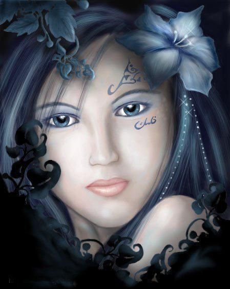visage-bleue-femme-flora