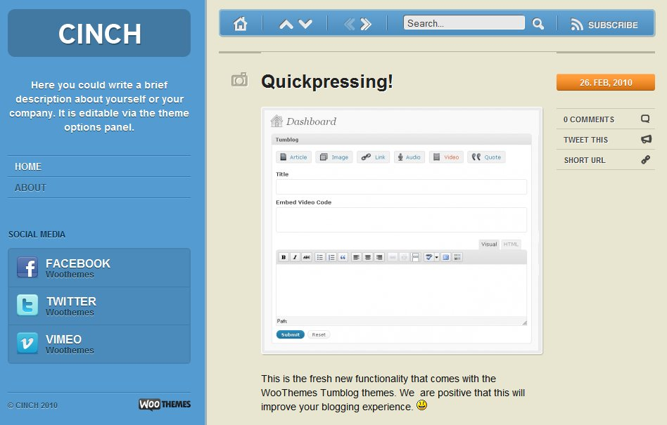 Cinch - March 2010 WooThemes Theme